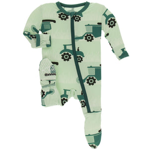 Pistachio Tractors & Wheat Footie with Zipper - Posh Tots Children's Boutique