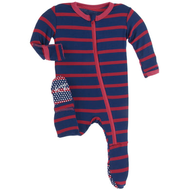 Navy Stripe Zippered Footie - Posh Tots Children's Boutique