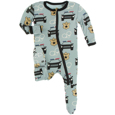 Jade Law Enforcement Zippered Footie - Posh Tots Children's Boutique