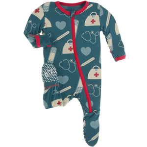 Oasis Medicine Zippered Footie - Posh Tots Children's Boutique