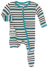 Load image into Gallery viewer, Footie with Zipper in Neptune Stripe - Posh Tots Children's Boutique