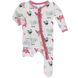 Natural Farm Animals Muffin Ruffle Footie with Zipper - Posh Tots Children's Boutique
