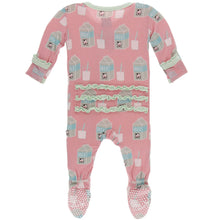 Load image into Gallery viewer, Strawberry Milk Muffin Ruffle Footie with Zipper - Posh Tots Children's Boutique