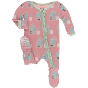 Strawberry Milk Muffin Ruffle Footie with Zipper - Posh Tots Children's Boutique