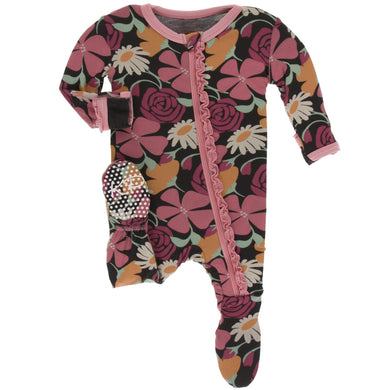 Zebra Market Flowers Muffin Ruffle Footie with Zipper - Posh Tots Children's Boutique