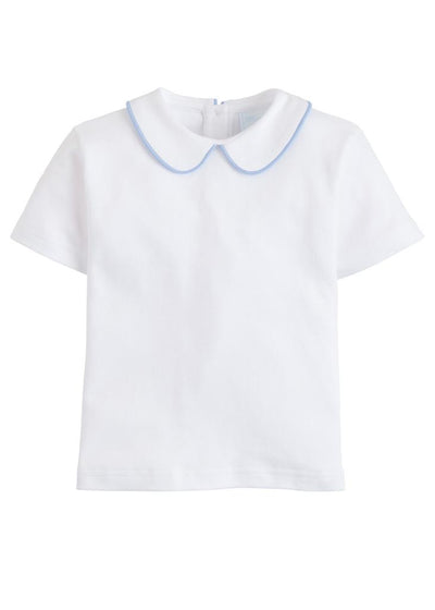 Blue Piped Peter Pan Knit Shirt - Posh Tots Children's Boutique