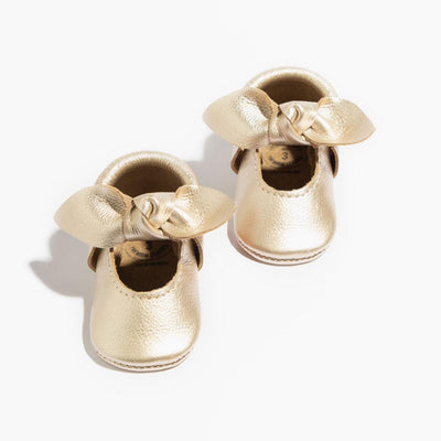 Platinum Knotted Bow Mocc - Posh Tots Children's Boutique