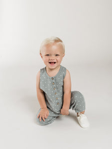 Sleeveless Jumpsuit - Ocean - Posh Tots Children's Boutique