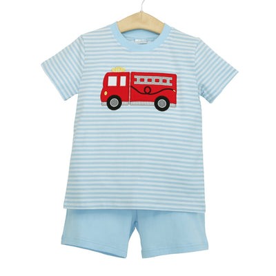 Firetruck Shorts Set - Posh Tots Children's Boutique