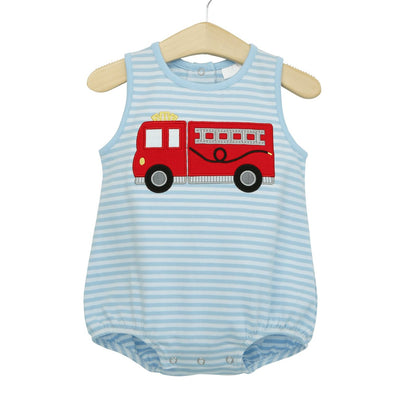 Firetruck Sleeveless Bubble - Posh Tots Children's Boutique