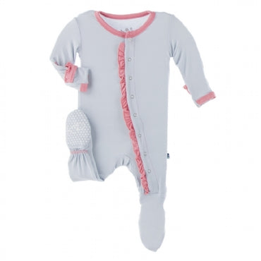 Ruffle Footie with Snaps - Dew with Strawberry - Posh Tots Children's Boutique