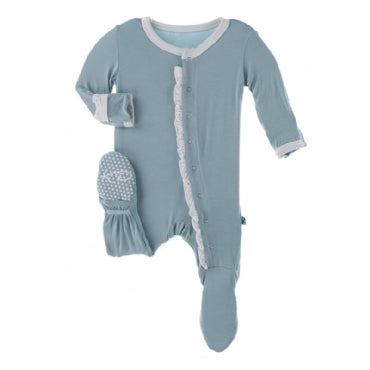 Ruffle Footie with Snaps - Jade with Natural - Posh Tots Children's Boutique