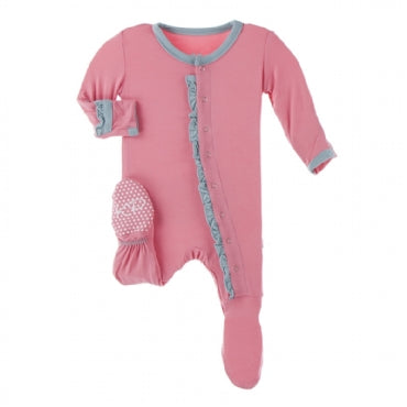 Ruffle Footie with Snaps - Strawberry with Jade - Posh Tots Children's Boutique