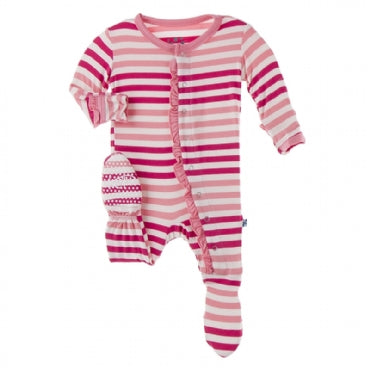 Ruffle Footie with Snaps - Forest Fruit Stripe - Posh Tots Children's Boutique