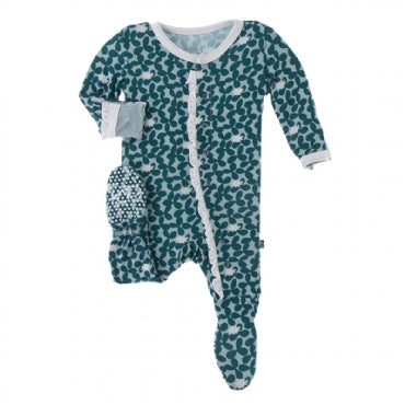 Ruffle Footie with Snaps - Jade Running Buffalo Clover - Posh Tots Children's Boutique