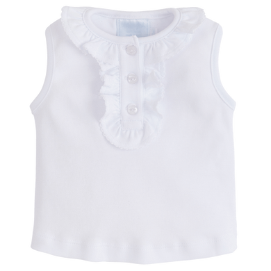 White Ruffled Henley Top