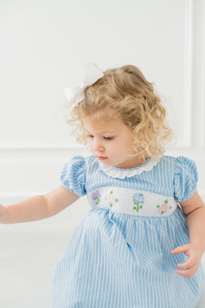 Hydrangeas Smocked Dress - Posh Tots Children's Boutique