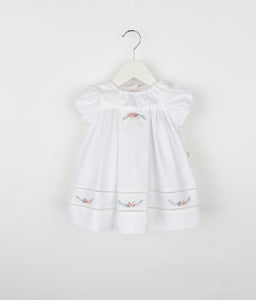 Dusty Rose Ruffle Dress - White - Posh Tots Children's Boutique