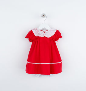 Cozy Cord Ruffle Dress - Red - Posh Tots Children's Boutique