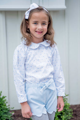 Stella Peter Pan Top - Blue Bow - Posh Tots Children's Boutique