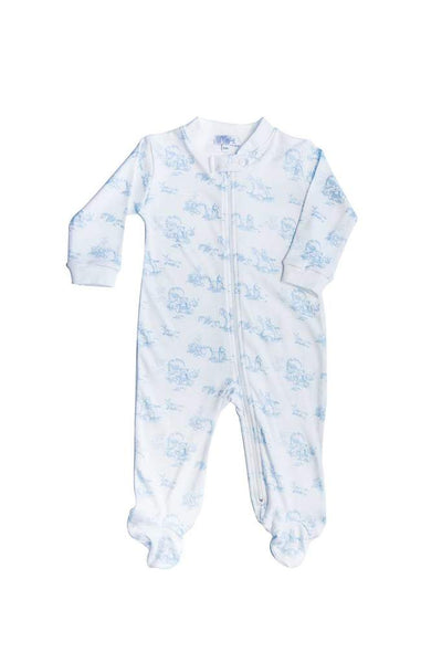 Blue Toile Zipper Footie - Posh Tots Children's Boutique