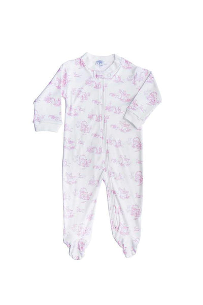 Pink Toile Zipper Footie - Posh Tots Children's Boutique
