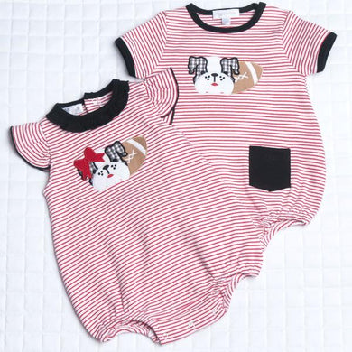 Love Bulldog Applique Ruffle Bubble - Posh Tots Children's Boutique