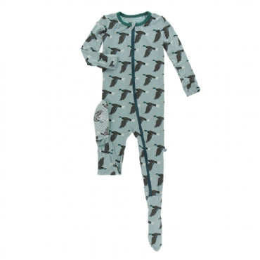 Footie with Zipper - Jade Mallard Duck - Posh Tots Children's Boutique