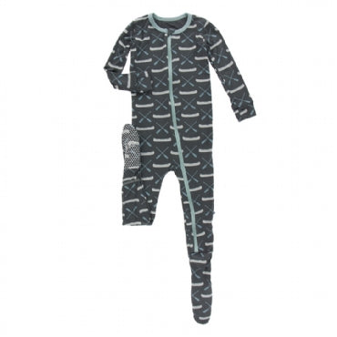 Footie with Zipper - Stone Paddles and Canoe - Posh Tots Children's Boutique