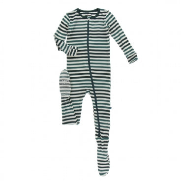 Footie with Zipper - Wildlife Stripe - Posh Tots Children's Boutique