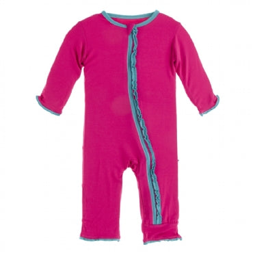 Muffin Ruffle Coverall with Zipper -Prickly Pear with Neptune - Posh Tots Children's Boutique
