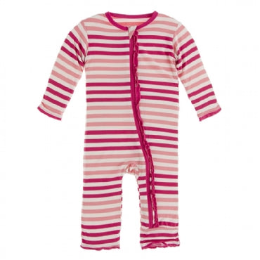 Muffin Ruffle Coverall with Zipper -Forest Fruit Stripe - Posh Tots Children's Boutique
