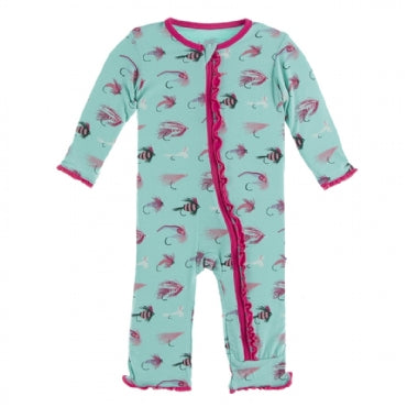 Muffin Ruffle Coverall with Zipper -Glass Fishing Flies - Posh Tots Children's Boutique