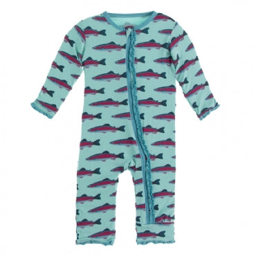 Muffin Ruffle Coverall with Zipper -Glass Rainbow Trout - Posh Tots Children's Boutique
