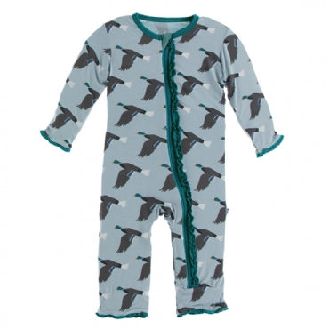 Muffin Ruffle Coverall with Zipper -Jade Mallard Duck - Posh Tots Children's Boutique