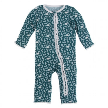Muffin Ruffle Coverall with Zipper -Jade Running Buffalo Clover - Posh Tots Children's Boutique