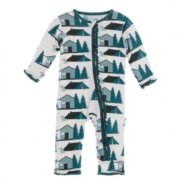 Muffin Ruffle Coverall with Zipper -Natural Cabins and Tents - Posh Tots Children's Boutique