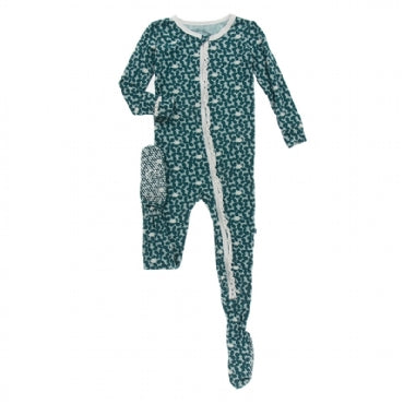 Muffin Ruffle Footie with Zipper - Jade Running Buffalo Clover - Posh Tots Children's Boutique