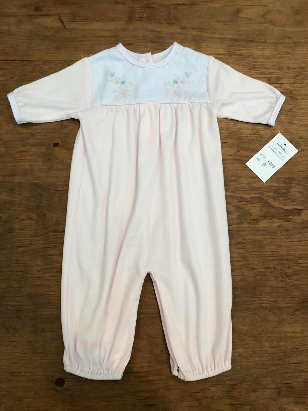 Pink Knit Playsuit with Embroidery - Posh Tots Children's Boutique