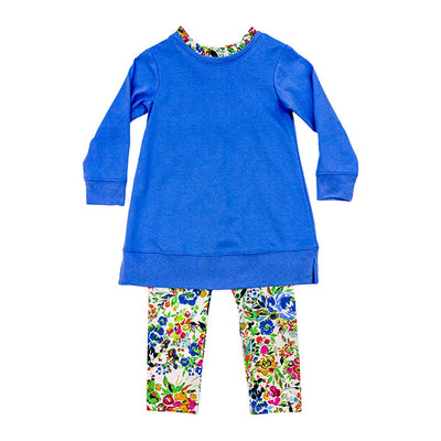 Tunic Legging Set - Peri Floral - Posh Tots Children's Boutique