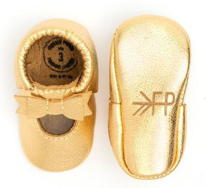 Ballet Flat Bow Mocc, Gold - Posh Tots Children's Boutique