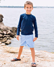 Load image into Gallery viewer, Cornflower Blue Gingham Swim Trunks - Posh Tots Children's Boutique