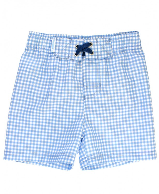 Cornflower Blue Gingham Swim Trunks - Posh Tots Children's Boutique