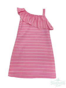 Pink Stripe One Shoulder Dress