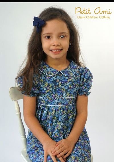 Blue & Lavender Floral Dress - Posh Tots Children's Boutique