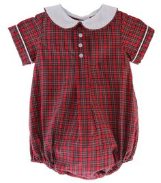 Red Plaid Jack Bubble - Posh Tots Children's Boutique