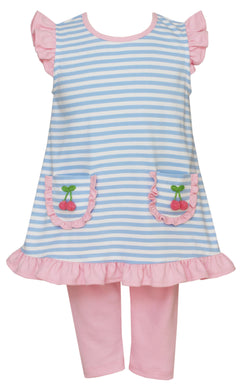 Blue Stripe Cherry Tunic