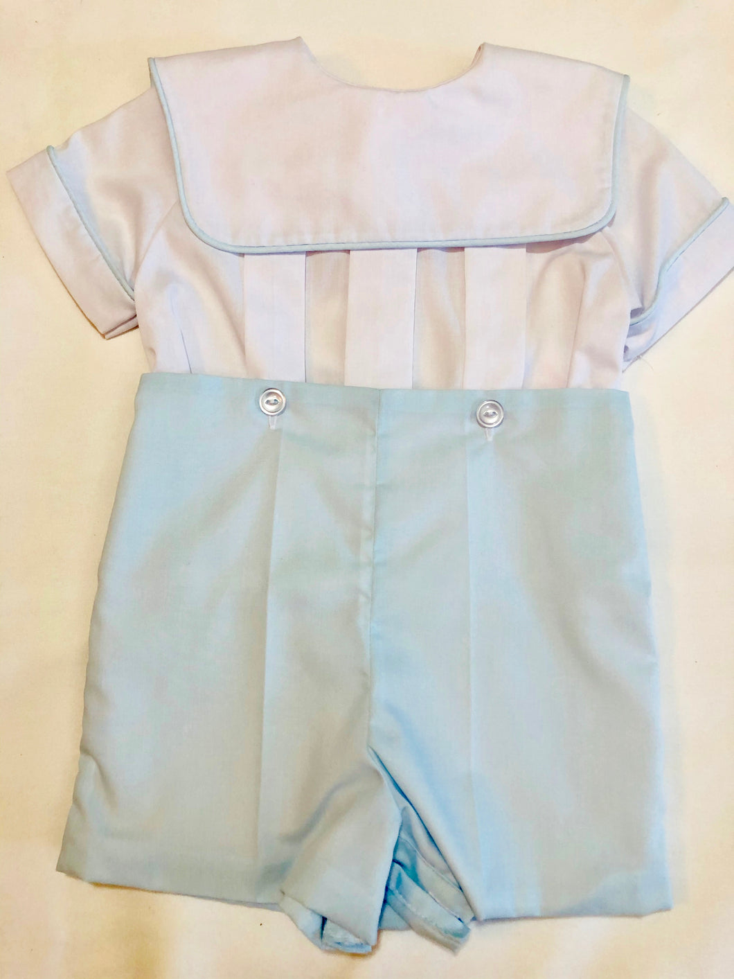 White & Blue Button-On Suit - Posh Tots Children's Boutique