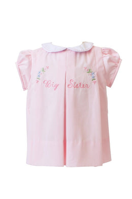Big Sister Embroidered Pink Dress - Posh Tots Children's Boutique