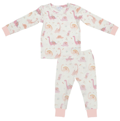 Floral Dinos Pink Lounge Wear Set - Posh Tots Children's Boutique